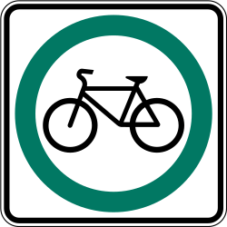 Traffic sign of Canada: Mandatory path for cyclists