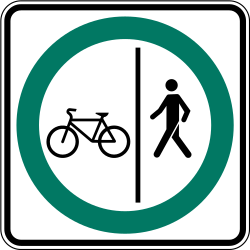Traffic sign of Canada: Mandatory divided path for pedestrians and cyclists
