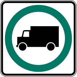 Traffic sign of Canada: Mandatory lane for <a href='/en/canada/overview/truck'>trucks</a>