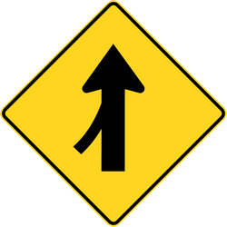 Panneau de signalisation de Canada: Warning for a side road merging with the main road