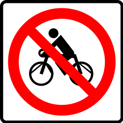 Traffic sign of Mexico: Cyclists prohibited