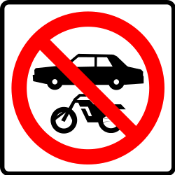 Traffic sign of Mexico: Motorcycles and cars prohibited