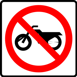 Traffic sign of Mexico: Motorcycles prohibited