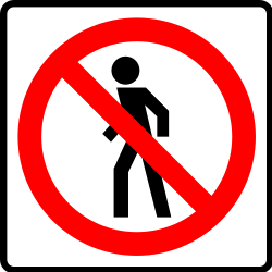 Traffic sign of Mexico: Pedestrians prohibited
