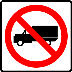 Traffic sign of Mexico: Trucks prohibited
