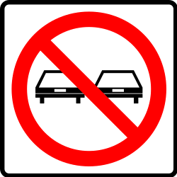 Traffic sign of Mexico: Overtaking prohibited