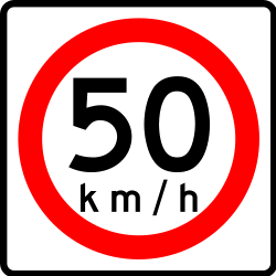 Traffic sign of Mexico: Driving faster than indicated prohibited (speed limit)