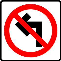 Traffic sign of Mexico: Turning left prohibited
