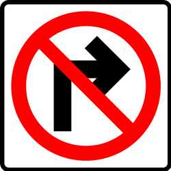 Traffic sign of Mexico: Turning right prohibited