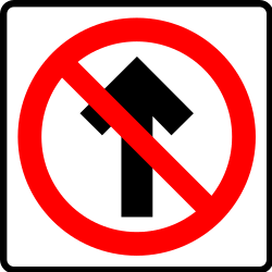 Traffic sign of Mexico: Driving straight ahead prohibited