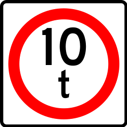 Traffic sign of Mexico: Vehicles heavier than indicated prohibited