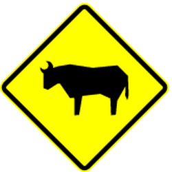 Traffic sign of Mexico: Warning for <a href='/en/mexico/overview/livestock'>cattle</a> on the road