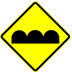 Traffic sign of Mexico: Warning for a bad road surface