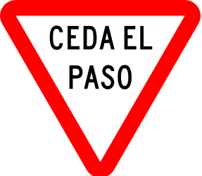 Traffic sign of Mexico: Give way to all drivers