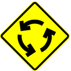 Traffic sign of Mexico: Warning for a roundabout