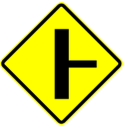 Traffic sign of Mexico: Warning for a <a href='/en/mexico/overview/crossroad'>crossroad</a> with side road on the right