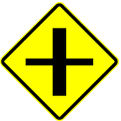 Traffic sign of Mexico: Warning for a crossroad side roads on the left and right