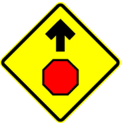 Traffic sign of Mexico: Stop and give way ahead