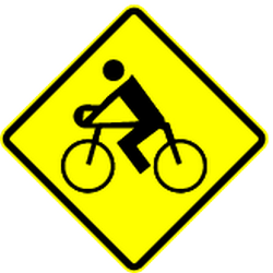 Traffic sign of Mexico: Warning for cyclists