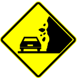 Traffic sign of Mexico: Warning for <a href='/en/mexico/overview/rockfall'>falling rocks</a>