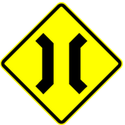 Traffic sign of Mexico: Warning for a <b>narrowing</b>