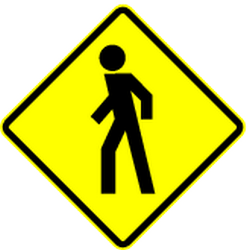 Traffic sign of Mexico: Warning for pedestrians