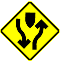 Traffic sign of Mexico: Warning for a <b>divided road</b>