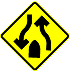 Traffic sign of Mexico: Warning for the end of a <b>divided road</b>