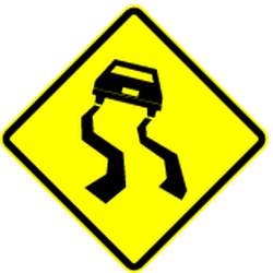 Traffic sign of Mexico: Warning for a <a href='/en/mexico/overview/slippery-road'>slippery road</a> surface
