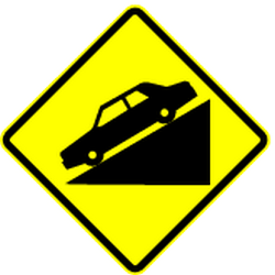 Traffic sign of Mexico: Warning for a <a href='/en/mexico/overview/slope'>steep descent</a>