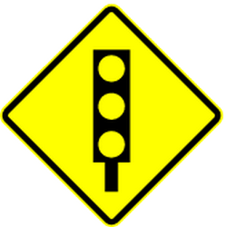 Traffic sign of Mexico: Warning for a traffic light