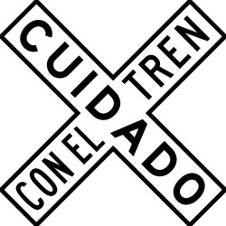 Traffic sign of Mexico: Warning for a railroad crossing with 1 railway
