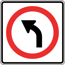 Traffic sign of Panama: Turning left mandatory