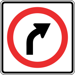 Traffic sign of Panama: Turning right mandatory