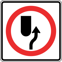 Traffic sign of Panama: Passing right mandatory