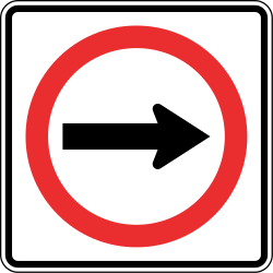 Traffic sign of Panama: Mandatory right