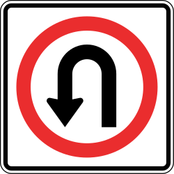 Traffic sign of Panama: Turning around mandatory (U-turn)