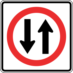 Traffic sign of Panama: Road with two-way traffic