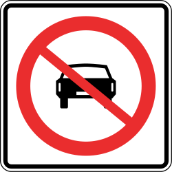 Traffic sign of Panama: Cars prohibited