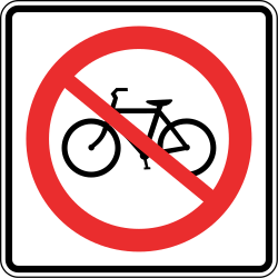Traffic sign of Panama: Cyclists prohibited