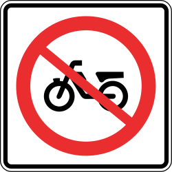 Traffic sign of Panama: Mopeds prohibited