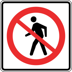 Traffic sign of Panama: Pedestrians prohibited