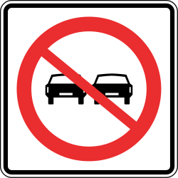 Traffic sign of Panama: Overtaking prohibited