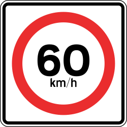Traffic sign of Panama: Driving faster than indicated prohibited (speed limit)