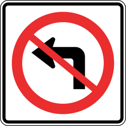 Traffic sign of Panama: Turning left prohibited