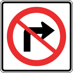 Traffic sign of Panama: Turning right prohibited