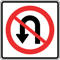 Traffic sign of Panama: Turning around prohibited (U-turn)