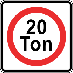 Traffic sign of Panama: Vehicles heavier than indicated prohibited