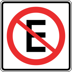 Traffic sign of Panama: Parking prohibited