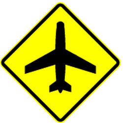 Traffic sign of Panama: Warning for low-flying aircrafts